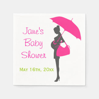 Magenta Silhouette Baby Shower Napkins Paper Napkin