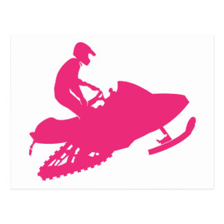Magenta-Snowmobiler Postcard