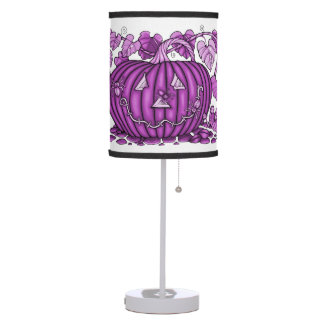 Magenta Spidery Pumpkin Table Lamp
