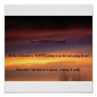 Magenta sunset  with affirmations poster