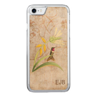 Magenta Throated Hummingbird Monogrammed Carved iPhone 8/7 Case