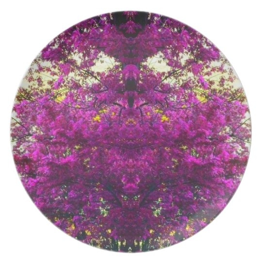 Magenta Tree Abstract Pop Art Photo Wall Decor Plate
