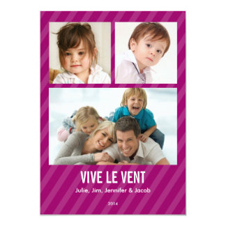 Magenta Triple carte de photo de vacances Card