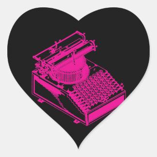 Magenta Type Writing Machine Heart Sticker