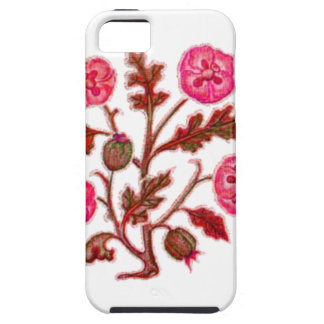 Magenta Vintage Embroidery Style Flowers iPhone 5 Case