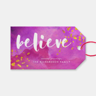 Magenta Watercolor and Gold Believe Gift Tags