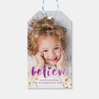 Magenta Watercolor and Gold Believe | Photo Gift Tags