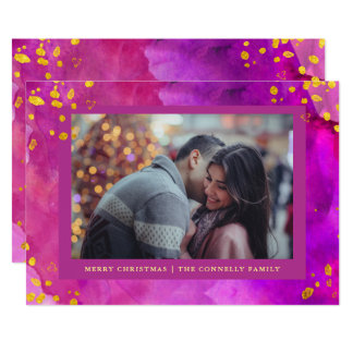 Magenta Watercolor Christmas with Gold | Photo Card
