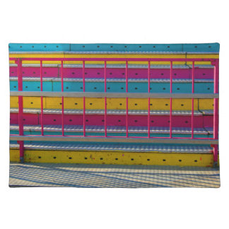 magenta yellow blue steps carnival ride abstract place mats