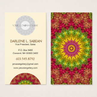 Magenta, Yellow & Green Spring Sunrise Mandala Business Card