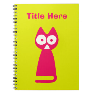 Magenta Yellow-green Triangle Cat Notebooks