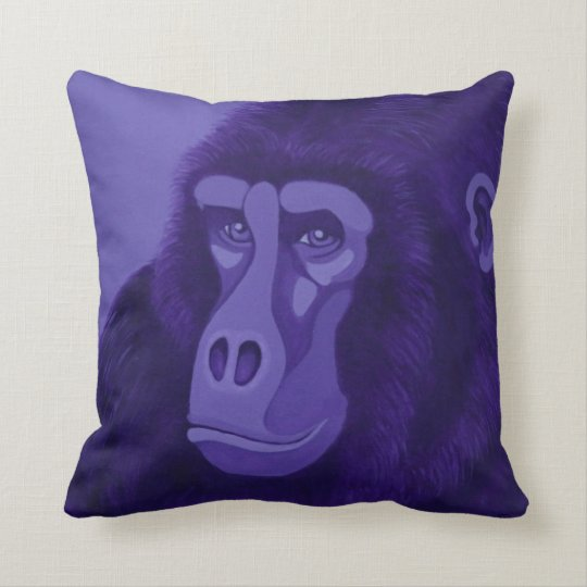 Magenta Zebra & Violet Gorilla Throw Pillow