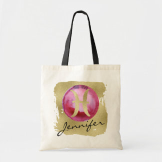 Magenta Zodiac Sign Pisces on Gold Background Tote Bag