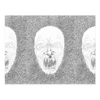 Maggot Demon Black And White Art Postcard