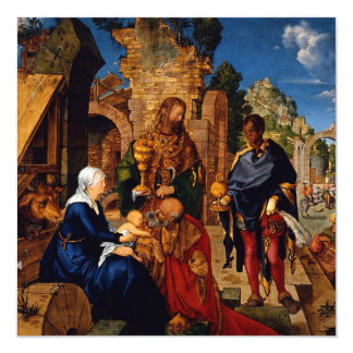 "Magi Worship Baby Jesus 5.25"" Square Invitation Card"