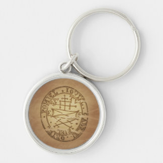 Magic Amulet Secures Good Spirits Magic Charms Silver-Colored Round Keychain