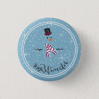 Magic and Wonder Christmas Snowman Blue ID440 1 Inch Round Button