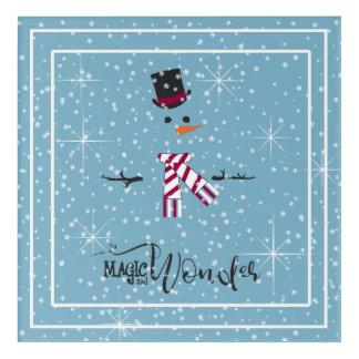 Magic and Wonder Christmas Snowman Blue ID440 Acrylic Wall Art