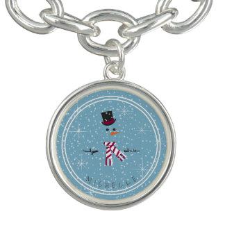 Magic and Wonder Christmas Snowman Blue ID440 Charm Bracelet