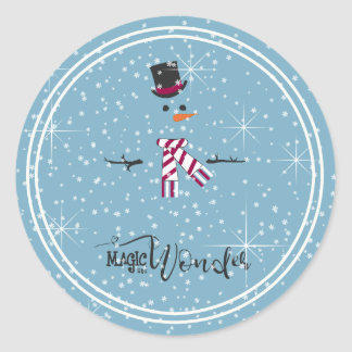 Magic and Wonder Christmas Snowman Blue ID440 Classic Round Sticker