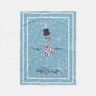 Magic and Wonder Christmas Snowman Blue ID440 Fleece Blanket