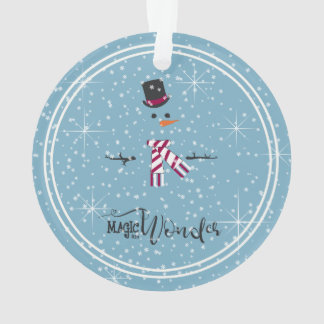 Magic and Wonder Christmas Snowman Blue ID440 Ornament