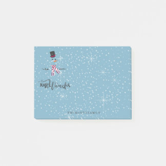 Magic and Wonder Christmas Snowman Blue ID440 Post-it Notes