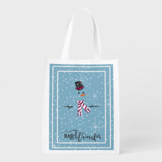 Magic and Wonder Christmas Snowman Blue ID440 Reusable Grocery Bag