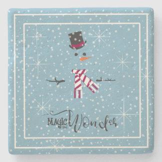 Magic and Wonder Christmas Snowman Blue ID440 Stone Coaster