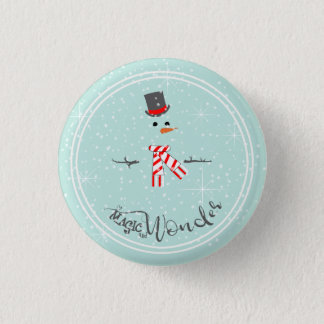Magic and Wonder Christmas Snowman Mint ID440 1 Inch Round Button
