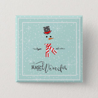 Magic and Wonder Christmas Snowman Mint ID440 2 Inch Square Button
