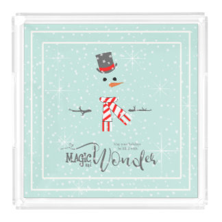 Magic and Wonder Christmas Snowman Mint ID440 Acrylic Tray