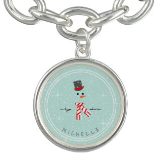 Magic and Wonder Christmas Snowman Mint ID440 Charm Bracelet