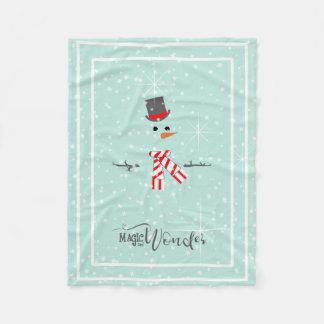 Magic and Wonder Christmas Snowman Mint ID440 Fleece Blanket