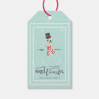 Magic and Wonder Christmas Snowman Mint ID440 Gift Tags