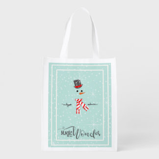 Magic and Wonder Christmas Snowman Mint ID440 Reusable Grocery Bag