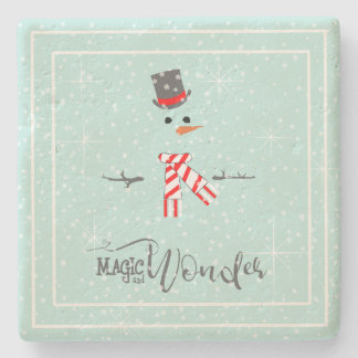 Magic and Wonder Christmas Snowman Mint ID440 Stone Coaster