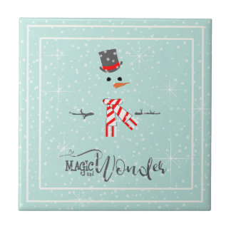 Magic and Wonder Christmas Snowman Mint ID440 Tile