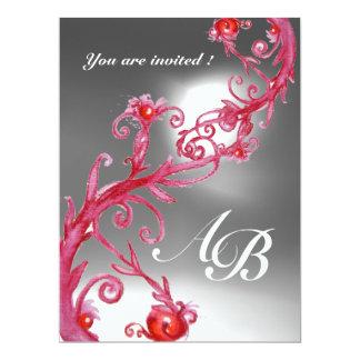 "MAGIC BERRIES 4,MONOGRAM red white crystal 6.5"" X 8.75"" Invitation Card"