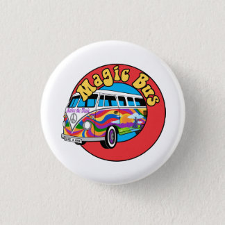 magic bus colorful 1 inch round button