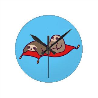 Magic Carpet Sloths Round Clock