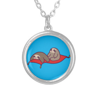 Magic Carpet Sloths Silver Plated Necklace
