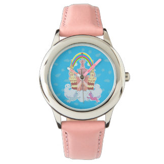 Magic Castle with cute unicorns illustration Wrist Watch
