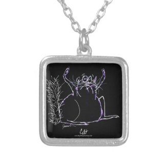 magic cat silver plated necklace