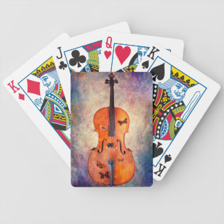 Magic cello with butterflies bicycle playing cards