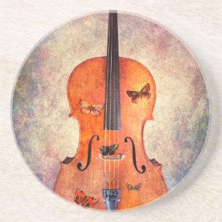 Magic cello with butterflies coaster