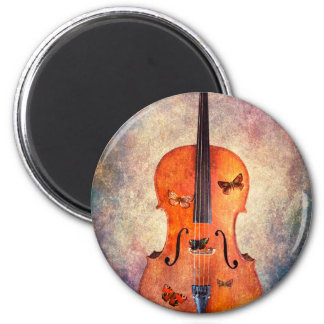 Magic cello with butterflies magnet