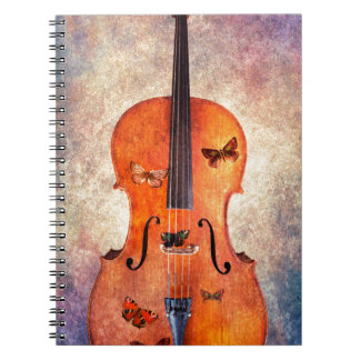 Magic cello with butterflies spiral notebook