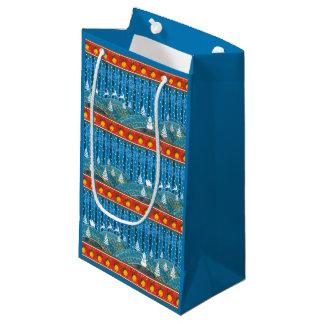 Magic Christmas background. Small Gift Bag