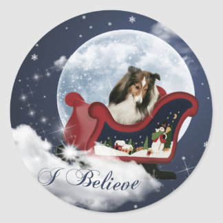 Magic Christmas Sheltie Classic Round Sticker